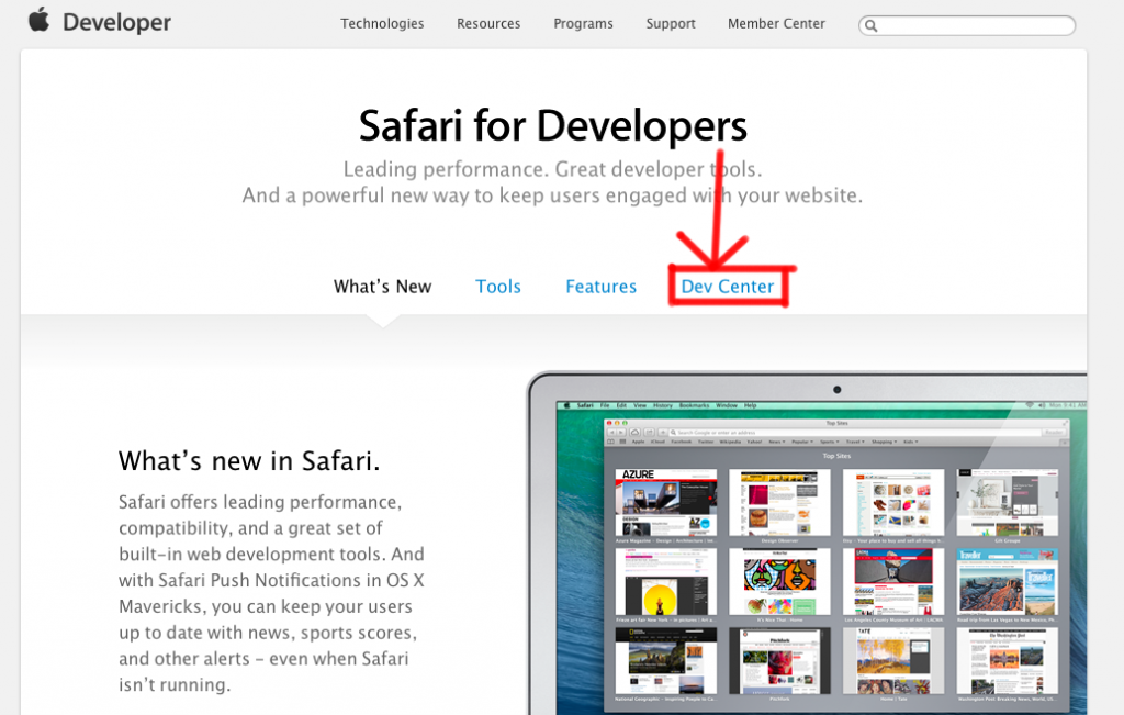 safari dev center